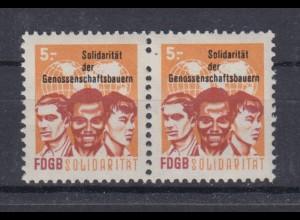 DDR Spendenmarken FDGB 1 fehlendes Zahnloch waagerechtes Paar 5 Mark postfrisch