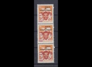 DDR Spendenmarken FDGB 2 fehlende Zahnlöcher 3er Streifen 5 Mark postfrisch