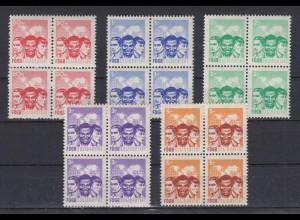 DDR Spendenmarken FDGB ohne Aufdruck 4er Blocks 5 Werte postfrisch