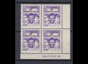 DDR Spendenmarken FDGB Druckvermerk Eckrand rechts unten 4er Block 3 Mark **
