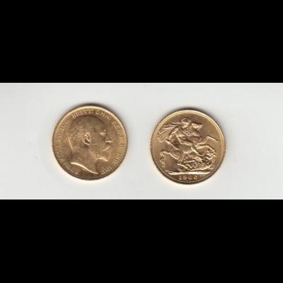Goldmünze Großbritannien Edward 1 Sovereign 1906