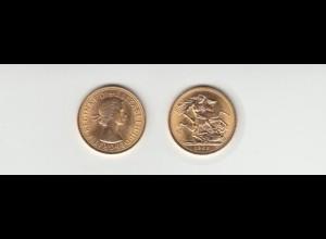 Goldmünze Großbritannien Elisabeth II. 1 Sovereign 1965