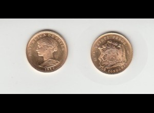 Goldmünze Chile 20 Pesos 1959