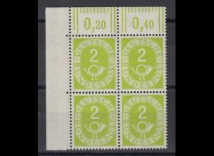 Bund 123 Eckrand links oben 4er Block Posthorn 2 Pf postfrisch