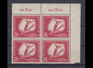 DDR 281 Eckrand rechts oben 4er Block Wintersport 24 Pf posrfrisch