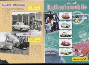Bund 2289-2293 Deutsche Kultautomobile mit Sonderstempel auf Fleyer