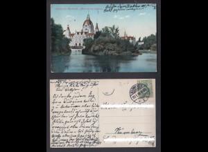 Ansichtskarte Hannover Maschpark Blick auf das Rathaus gestempelt 1913