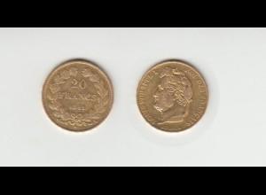 Goldmünze Frankreich Louis Philippe I. 20 Francs 1841 A