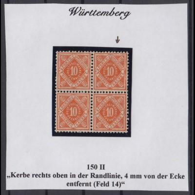 Württemberg Dienst 150 II 4er Block mit Plattenfehler postfrisch