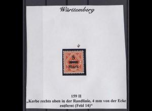Württemberg Dienst 159 II 4er Block mit Plattenfehler 5 M auf 10 Pf postfrisch