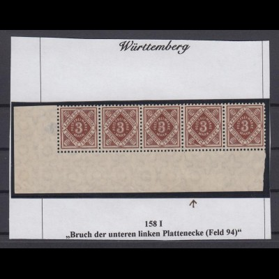 Württemberg Dienst 158 I Eckrand links unten 5er Streifen mit Plattenfehler **