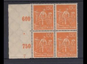 Deutsches Reich 189 Seitenrand links 4er Block mit Pl. Nr. 7 Schnitter 150 Pf **