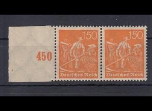 Deutsches Reich 189 Seitenrand links + Reihenwertzähler Schnitter 150 Pf ** /1
