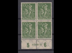 Deutsches Reich 187a mit Unterrand 4er Block + HAN Bergarbeiter 100 Pf ** /3