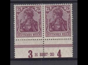 Deutsches Reich 148 II Unterrand Paar mit HAN Germania 75 Pf postfrisch /3