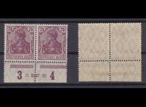 Deutsches Reich 148 II Unterrand Paar mit HAN Germania 75 Pf postfrisch /5