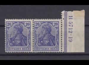 Deutsches Reich 87 II Paar mit Seitenrand + HAN Germania 20 Pf postfrisch