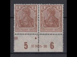Deutsches Reich 140 a waagerechtes Paar mit HAN Germania 5 Pf postfrisch /1