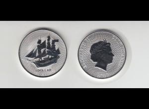 Silbermünze 1 OZ Cook Island Segelschiff Bounty im Sonnenuntergang 1 Dollar 2020