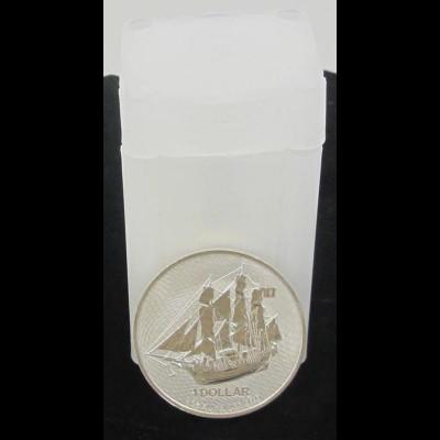 20 Silbermünzen 1 OZ Cook Island Bounty im Sonnenuntergang 1 Dollar 2020 in Tube