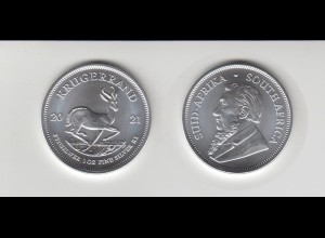 Silbermünze 1 OZ Südafrika Krügerrrand Springbock 2021 Stempelglanz