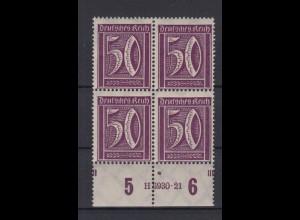 Deutsches Reich 183 b 4er Block mit HAN Zähnung im Markenbild Ziffern 50 Pf **