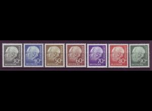 Bund 259x - 265x Theodor Heuss (II) 30, 40, 50, 60, 70, 80, 90 Pf postfrisch