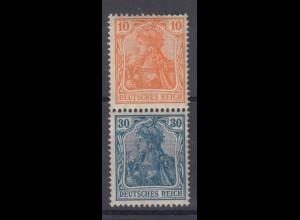 Deutsches Reich 141/144 Zusammendruck S 15 Germania 10/30 Pf postfrisch