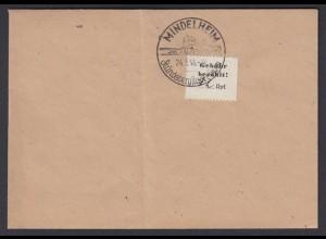 Deutsche Lokalausgaben Mindelheim 1 Sammler Ortsbrief weißes Papier