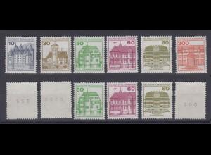Bund 913A II - 1143 II Letterset Burgen+Schlösser teils mit Nummer postfrisch /1