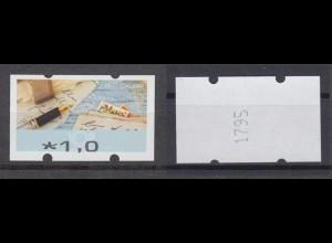Bund ATM 2017 Mi.8 Fehldruck 1,00 € mit Nr. verstümmelter Aufdruck ** /15