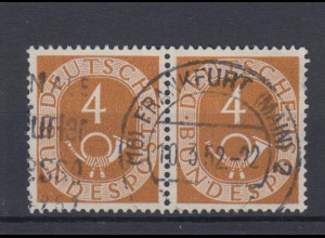 Bund 124 waagerechtes Paar Posthorn 4 Pf gestempelt Frankfurt /3