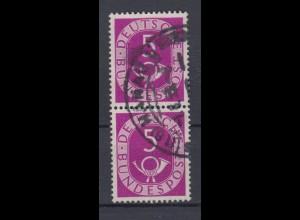 Bund 125 senkrechtes Paar Posthorn 5 Pf gestempelt