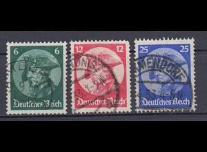 Deutsches Reich 479-481 Friedrich der Große 6 Pf, 12 Pf, 25 Pf gestempelt /3