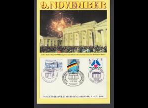 Gedenkblatt 9. November mit Sonderstempel zum ersten Jahrestag 1990