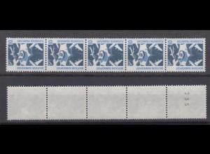 Bund 1347 A RM 5er Streifen mit ungerader Nummer SWK 10 Pf postfrisch