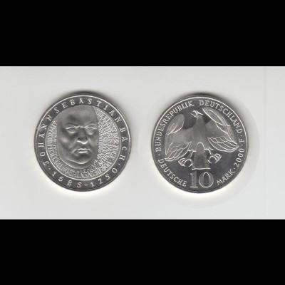 Silbermünze 10 DM 2000 Johannes S. Bach Prägeanstalt F Stempelglanz