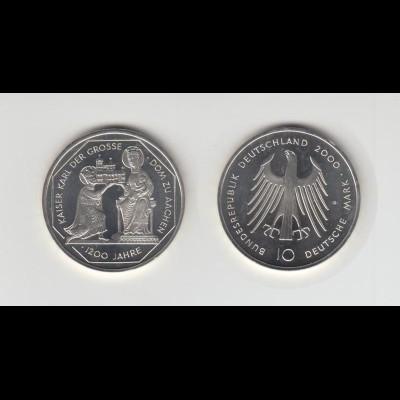 Silbermünze 10 DM 2000 Karl der Grosse Stempelglanz