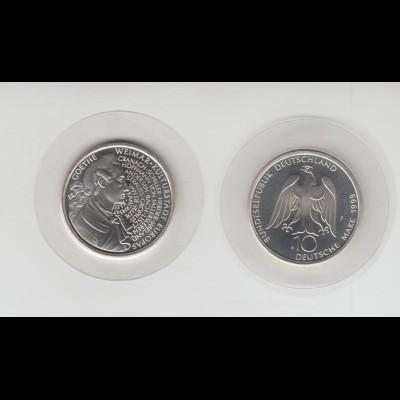 Silbermünze 10 DM 1999 Goethe Weimar Prägeanstalt J stempelglanz