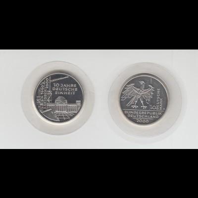 Silbermünze 10 DM 2000 10 Jahre Deutsche Einheit D stempelglanz