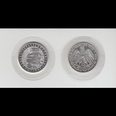 Silbermünze 10 DM 2001 50 Jahre Bundesverfassungsgericht G stempelglanz