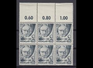 Französische Zone Rheinland Pfalz 1 mit Oberrand 6er Block 2 Pf postfrisch