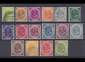 Bund 123-138 Posthorn 16 Werte kompletter Satz gestempelt /2