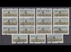 Berlin ATM 1 Versandstellensatz 15 Werte gestempelt