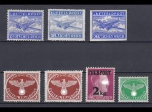 Deutsches Reich Feldpost 1 A, B, U, 2 A+B, 3, 4 postfrisch /1