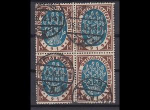 Deutsches Reich 108 4er Block Germania 15 Pf gestempelt