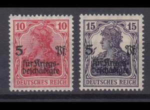 Deutsches Reich 105-106 Germania Kriegsgeschädigtenhilfe 10 Pf+15 Pf postfrisch