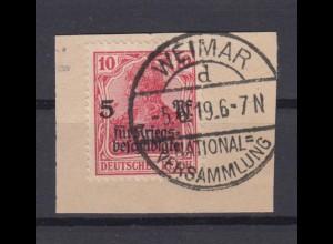 Deutsches Reich 105 Germania Kriegsgeschädigtenhilfe 10 Pf gestempelt Briefstück