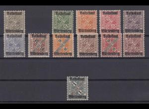 Altdeutschland Württemberg 258-270 ohne 259 Wertziffern in Schildern postfrisch