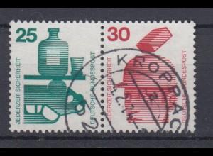 Bund 697,698 Zusammendruck W45 Unfallverhütung 25/30 Pf gestempelt Kroppach